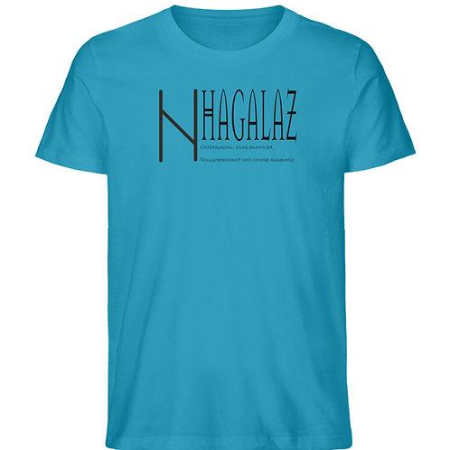 Rune -Hagalaz  - Schriftzug schwarz  - Herren Premium Organic Shirt