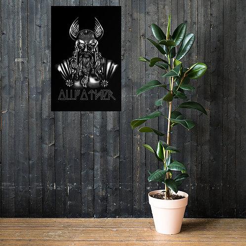 Hochwertiges Poster mit Odin Druck - Allfather - Wotan - Runes - Viking