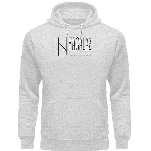 Rune -Hagalaz  - Schriftzug schwarz  - Unisex Organic Hoodie