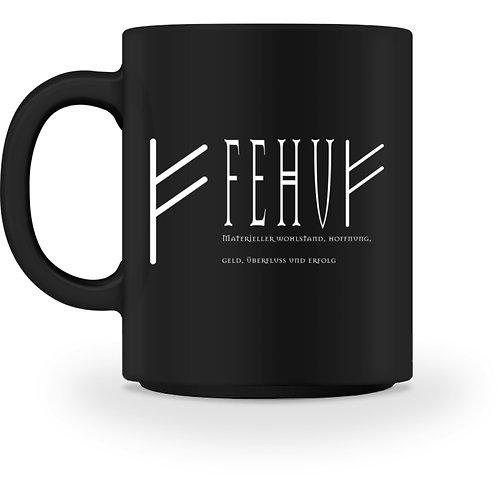 Rune - Fehu - Schriftzug Weiß  - Tasse