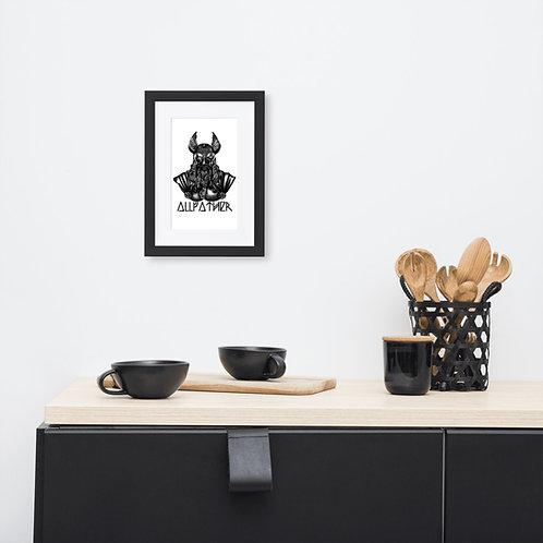 Odin - Allvater - Illustration - Gerahmtes Poster auf mattem Papier mit Rahmen