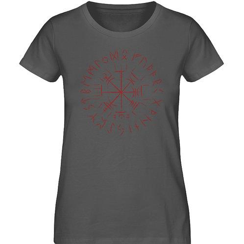 Cooles Vegvisir Design mit dunkelroten Runen  - Damen Premium Organic Shirt