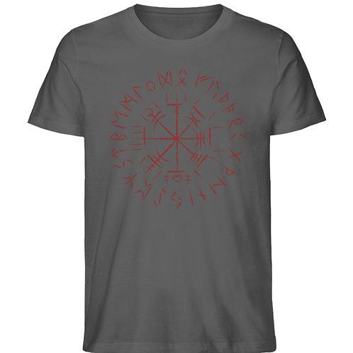 Cooles Vegvisir Design mit dunkelroten Runen  - Herren Premium Organic Shirt