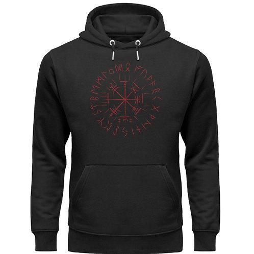 Cooles Vegvisir Design mit dunkelroten Runen  - Unisex Organic Hoodie
