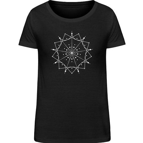 Mandala mit weißen Linien und Punkten  - Damen Organic Shirt