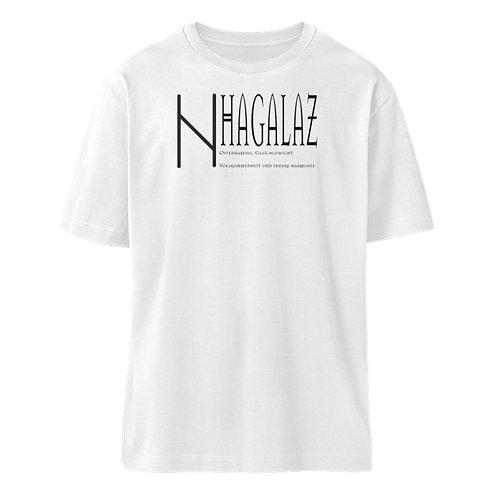 Rune -Hagalaz  - Schriftzug schwarz  - Organic Oversized Shirt ST/ST