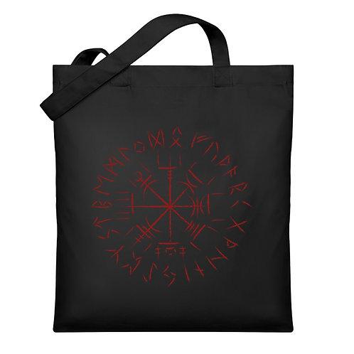 Cooles Vegvisir Design mit dunkelroten Runen  - Organic Jutebeutel