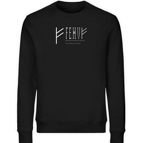 Rune - Fehu - Schriftzug Weiß  - Unisex Organic Sweatshirt