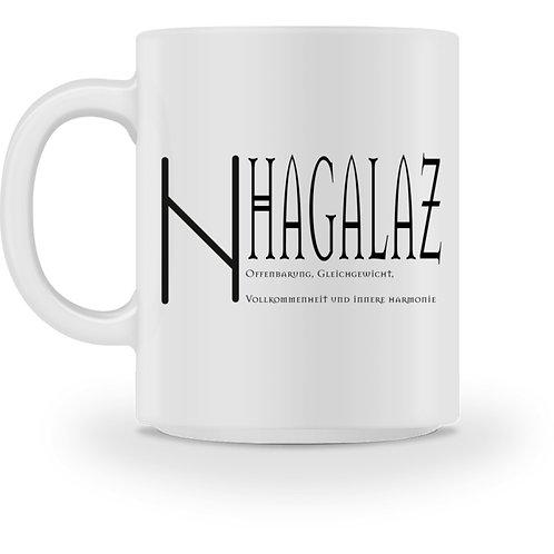 Rune -Hagalaz  - Schriftzug schwarz  - Tasse