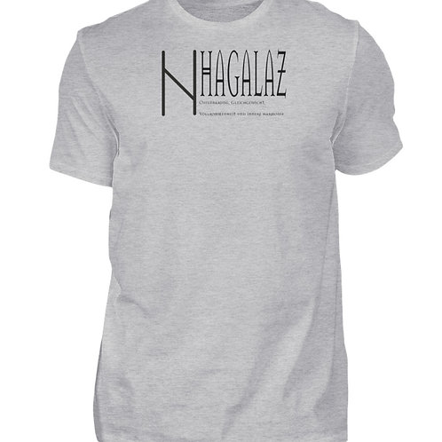 Rune -Hagalaz  - Schriftzug schwarz  - Herren Shirt