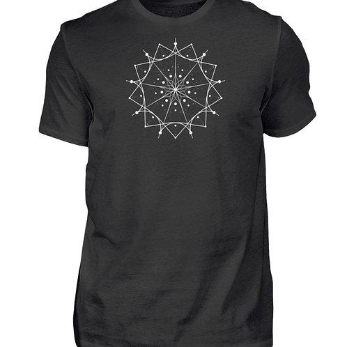 Mandala mit weißen Linien und Punkten  - Herren Shirt