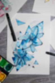 Lilie, Blau,  Zeichnung, Muster, Gel Liner