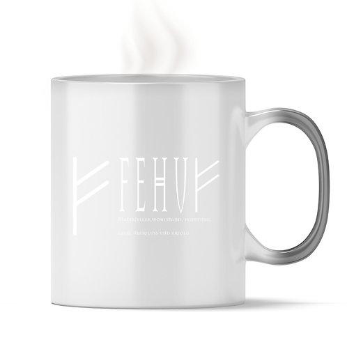 Rune - Fehu - Schriftzug Weiß  - Magic - Tasse