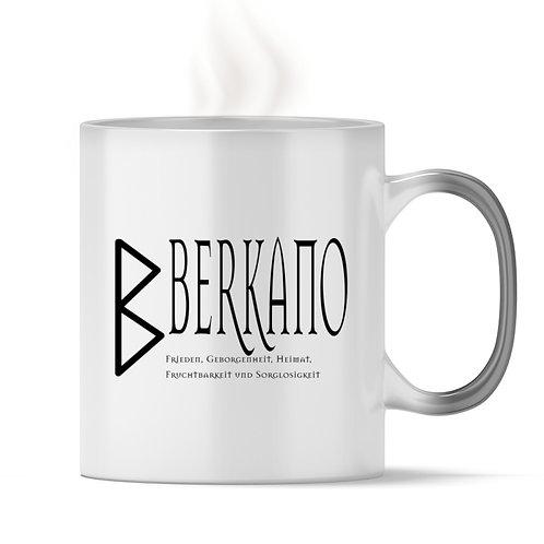 Rune - Berkano  - Schriftzug schwarz  - Magic - Tasse