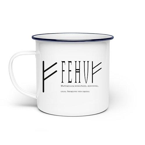 Rune - Fehu  - Schriftzug schwarz  - Emaille Tasse