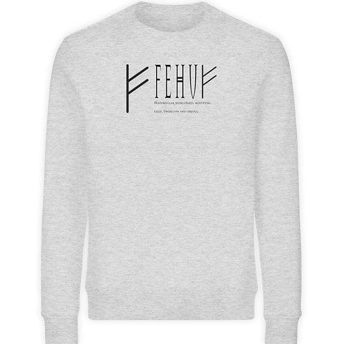 Rune - Fehu  - Schriftzug schwarz  - Unisex Organic Sweatshirt