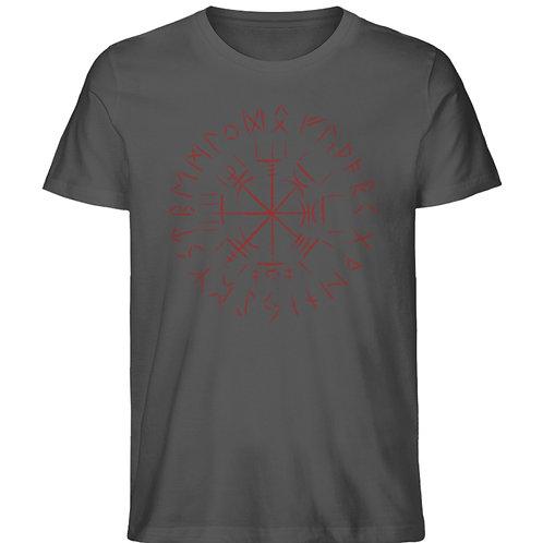 Cooles Vegvisir Design mit dunkelroten Runen  - Herren Organic Melange Shirt