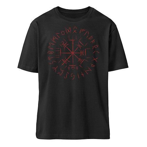 Cooles Vegvisir Design mit dunkelroten Runen  - Organic Oversized Shirt ST/ST