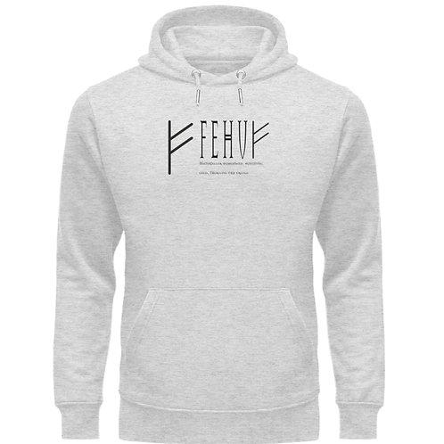 Rune - Fehu  - Schriftzug schwarz  - Unisex Organic Hoodie