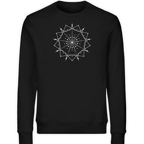 Mandala mit weißen Linien und Punkten  - Unisex Organic Sweatshirt