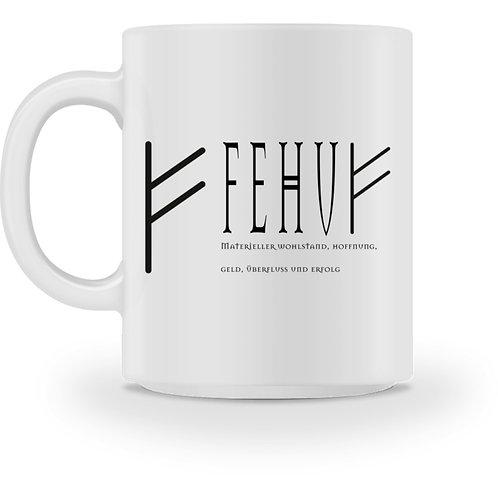 Rune - Fehu  - Schriftzug schwarz  - Tasse
