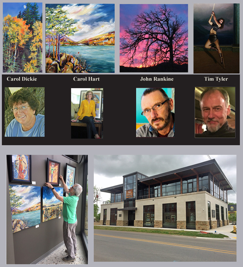 Artworks by four Northwest Arkansas artists are currently on exhibit at the First National Bank of NWA in Bentonville. The artists are Carol Dickie and John Rankine of Eureka Springs, Carol Hart of Fayetteville, and Tim Tyler of Bella Vista. The newly opened bank building has been designed to showcase art, and the works may be viewed twenty-four hours a day through the building's large storefront windows. The current exhibition will remain in place through mid August. Eureka Springs artist Zeek Taylor is the bank's art director. He will curate rotating exhibitions for the bank that is located in the Bentonville Arts District at 402 SW A Street. A ribbon cutting and grand opening will take place June 6 at 4 p.m.