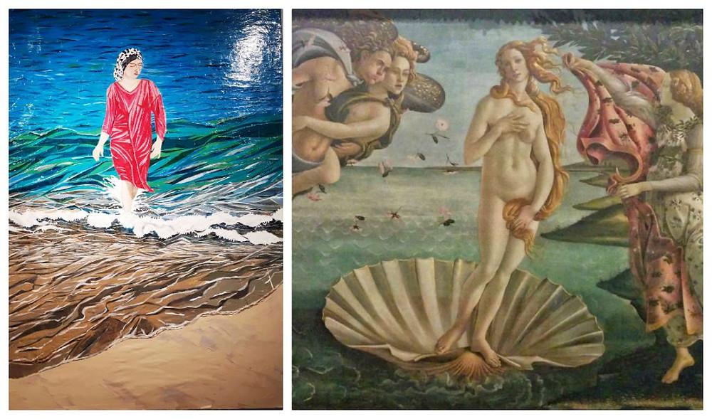 מימין: לידתה של ונוס, בוטיצ'לי     משמאל: ונוס עולה מן הים, הילה - פז קרבלניקוב