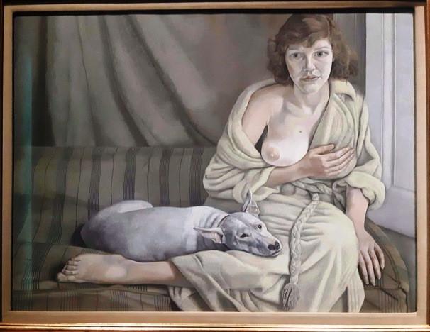 נערה עם כלב לבן, 1950 - 1952, לוסיאן פרויד