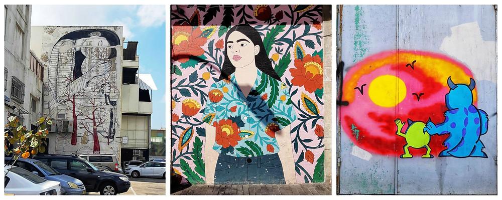 """ציורי קיר באיזור ה""""חורבה"""" רחוב הנמל חיפה"""