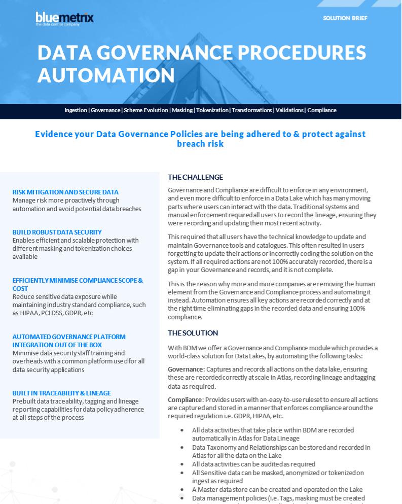 Data Governance Procedures Automation Data Sheet