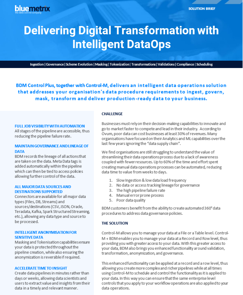 Delivering Digital Transformation with Intelligent DataOps Data Sheet