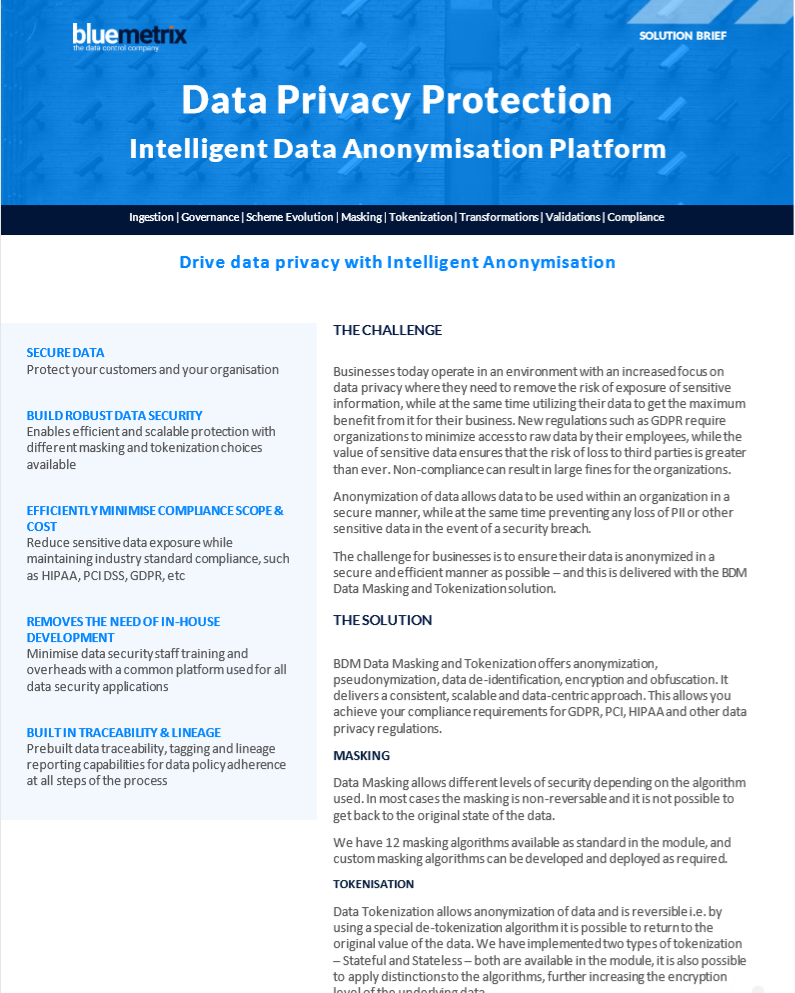 Intelligent Data Anonymisation for Your Data Privacy Data Sheet