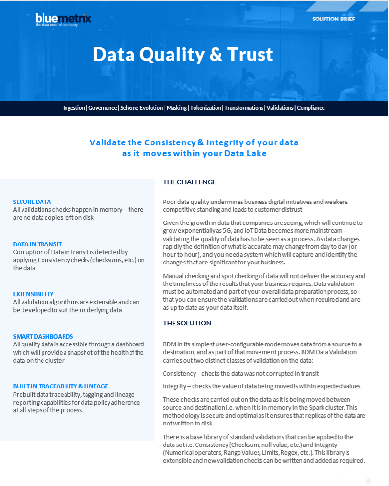 Improve Quality and Trust in Data Data Sheet