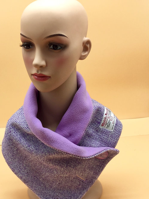 Lilac Herringbone Harris Tweed Cowl