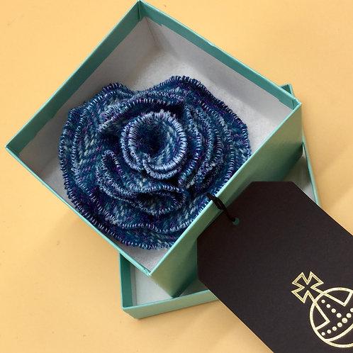 Blue Harris Tweed Flower Brooch