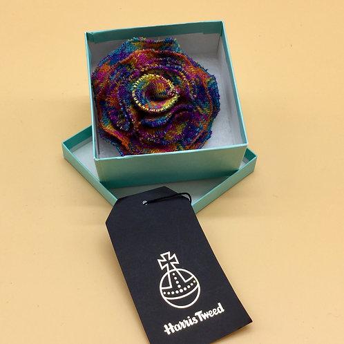 Rainbow Harris Tweed Flower Brooch