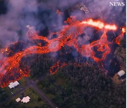 De vulkaan-uitbarsting op Big Island