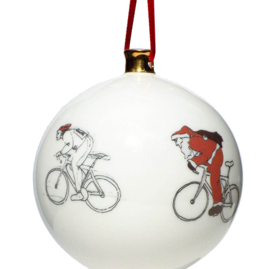 Father Christmas cycle race bauble, by G