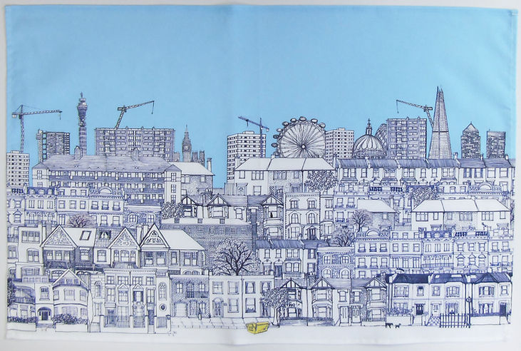 London houses tea towels blue.jpg