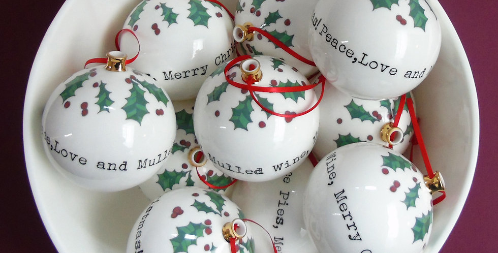 'Peace, Love and Mulled Wine' Bauble