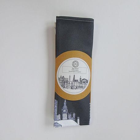 London houses tea towel grey folded.jpg