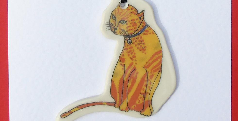 Sitting tabby cat card