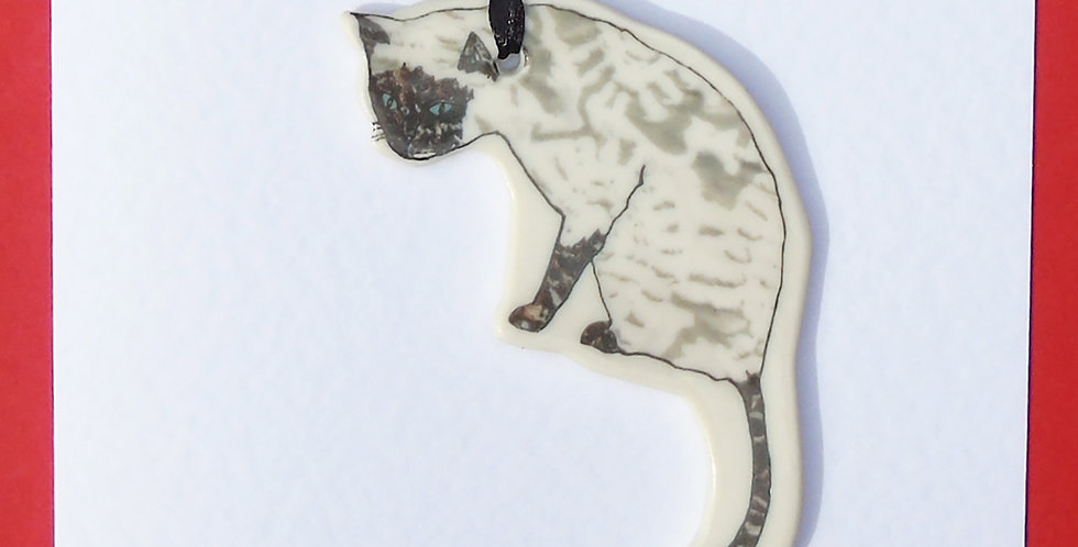 Siamese about-to-pounce cat card