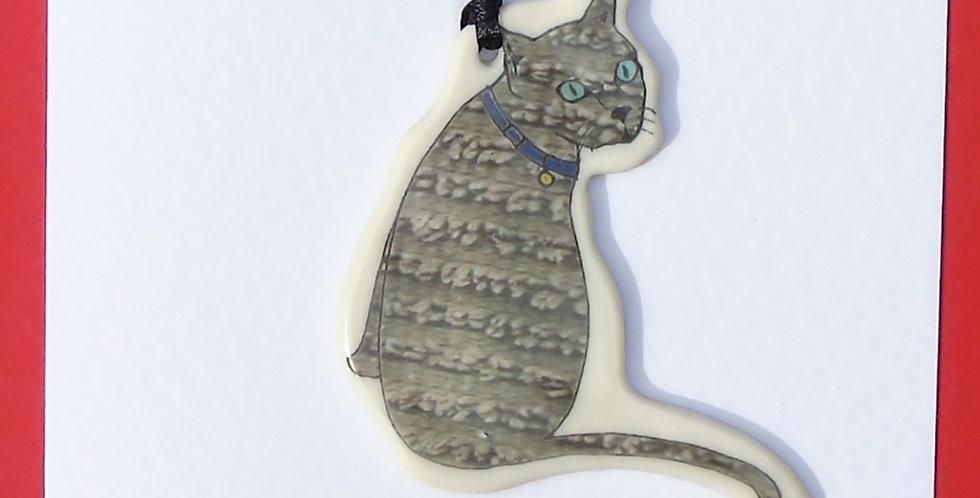 Grey sitting cat card