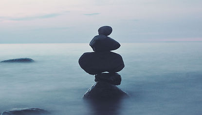 Rocks Balancing in fog