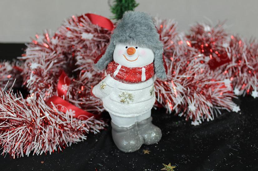 Figurine bonhomme de neige céramique Rouge / Blanc
