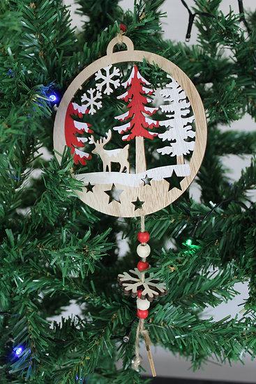 Suspension ronde Bois motif Noël
