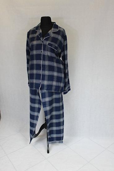 Pyjama carreaux Bleu Gris Manche Longue