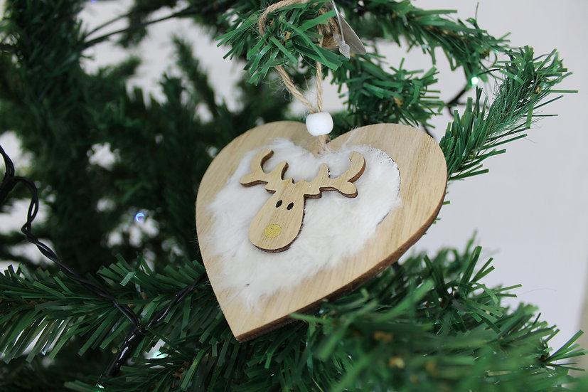 Suspension coeur en bois et fourure