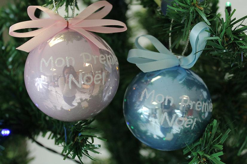 Boule mon premier Noël Bleu ou Rose